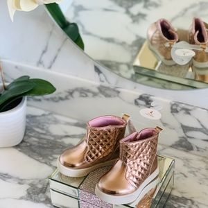 Baby Deer Quilted Rose Gold Boot Sz 4